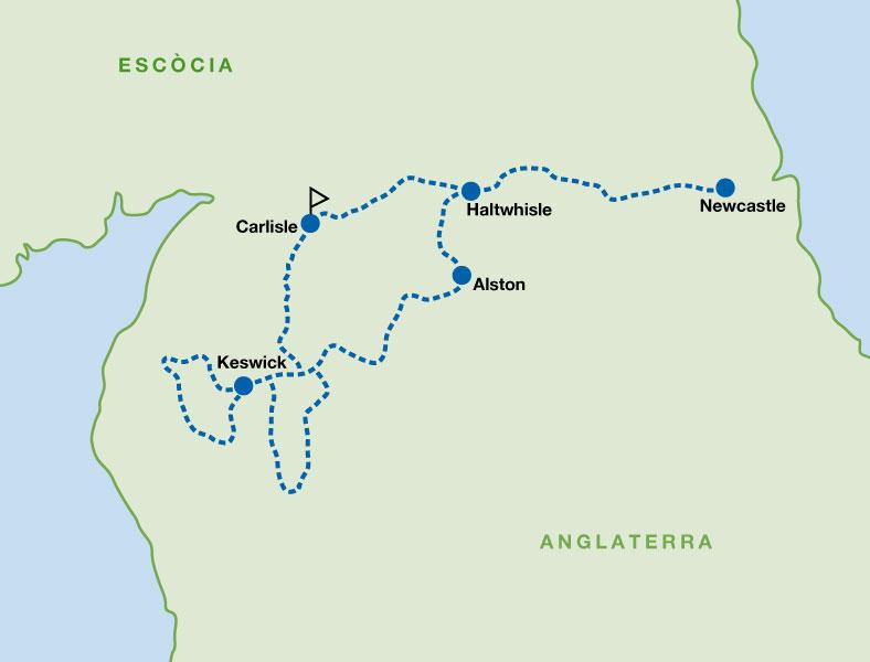 Mapa de la ruta del Mur d'Adrià i els llacs anglesos amb bicicleta de carretera