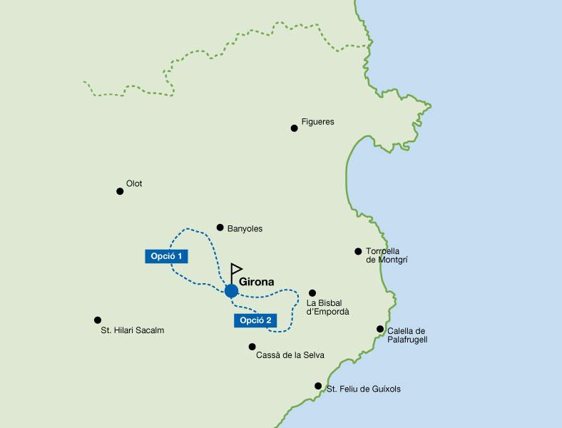 Mapa de la Ruta circular a Girona - BTT - 0 (Girona). Bicicleta Mountain Bike